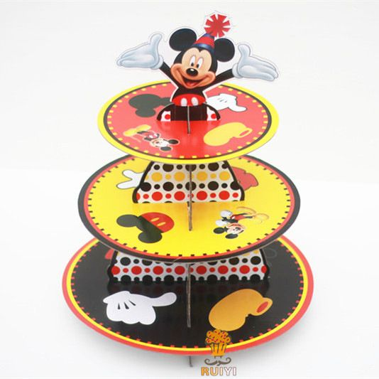 1 Set Mickey Theme Cake Stand Birthday Party Supplier Event Party Suppliers Three Layer Cake Plate Paper Cake Stand