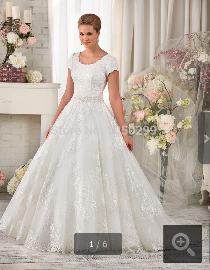 2014 Новый стиль бальное платье цвета слоновой кости совок Necklline лифом из бисера короткими рукавами молния назад 2014 модест винтаж свадебные платья