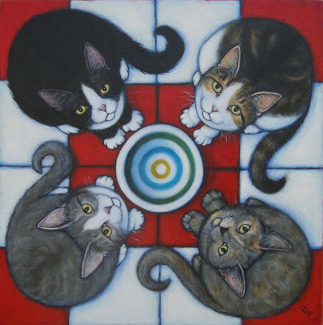 4 Hungry Cats by Heidi Shaulis. #cats #art #cute