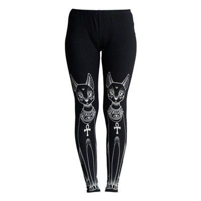 Bast legging met egyptische katten print zwart