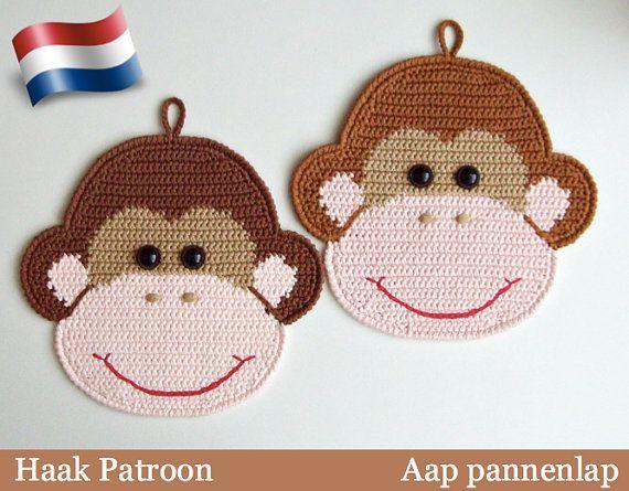 080NLY Haak Patroon - Aap decoratie, pannenlap - Amigurumi - PDF file by Zabelina Etsy