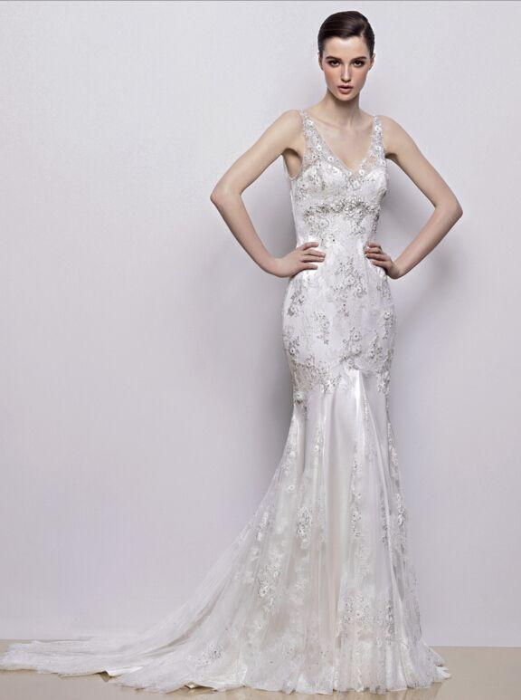 239.00$  Buy now - http://vipxa.justgood.pw/vig/item.php?t=dpkg0d24972 - Sleeveless Lace Mermaid Wedding dress V-neck Bridal Wedding Lace Gowns 0 2 4 6 8