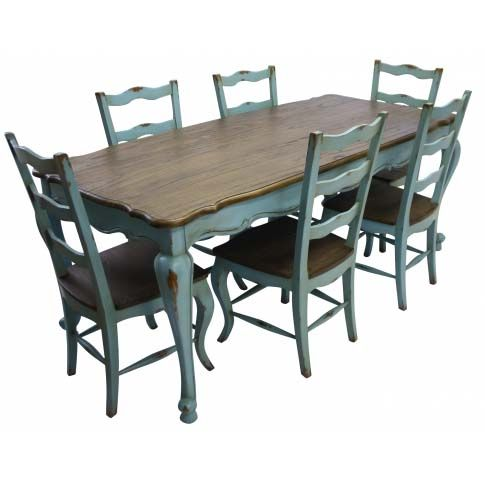 A beautiful Teal Blue Rustic Dining Table that will add French charm to your dining room, with classic rustic top, cabriole legs and finished in teal blue.