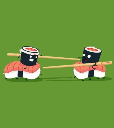 sushi duel !   Cute artist illustrations. Adorable creatures and critter drawings and digital art. Childrens art and character sketches.