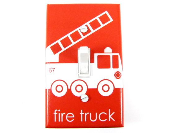 Light switch Etsy listing at http://www.etsy.com/listing/130210697/fire-truck-light-switch-plate-cover-in