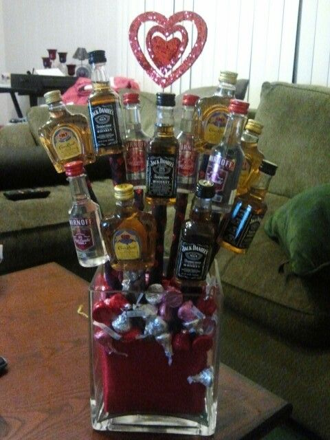 Valentines Day liquor bouquet...I want this haha sad part it would all be gone that night lol