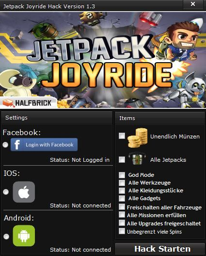 Jetpack Joyride Cheats Tool [WORKING]