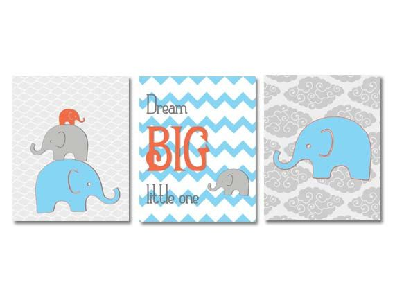 Blue Orange Nursery Blue Orange Elephant by NauticalDecorShop