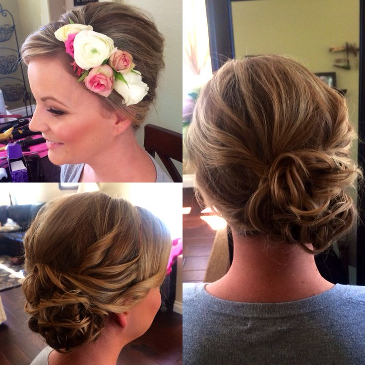 Wedding Flowers Crown For Fine Hairstyle: Updo, Flower Crown, Bridal Hair, Wedding Hair, Low Side