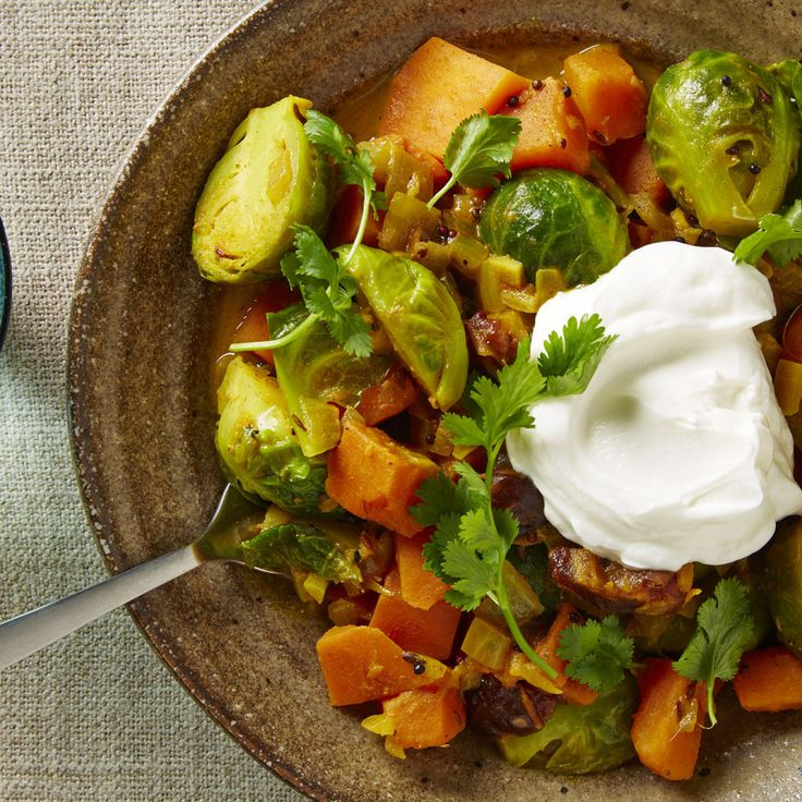 Sometimes more is more: Brussels sprouts, with their bitter edge and stout texture, can take on big flavors like bacon, vinegar, or, in this case, abundant Indian-inspired spices.