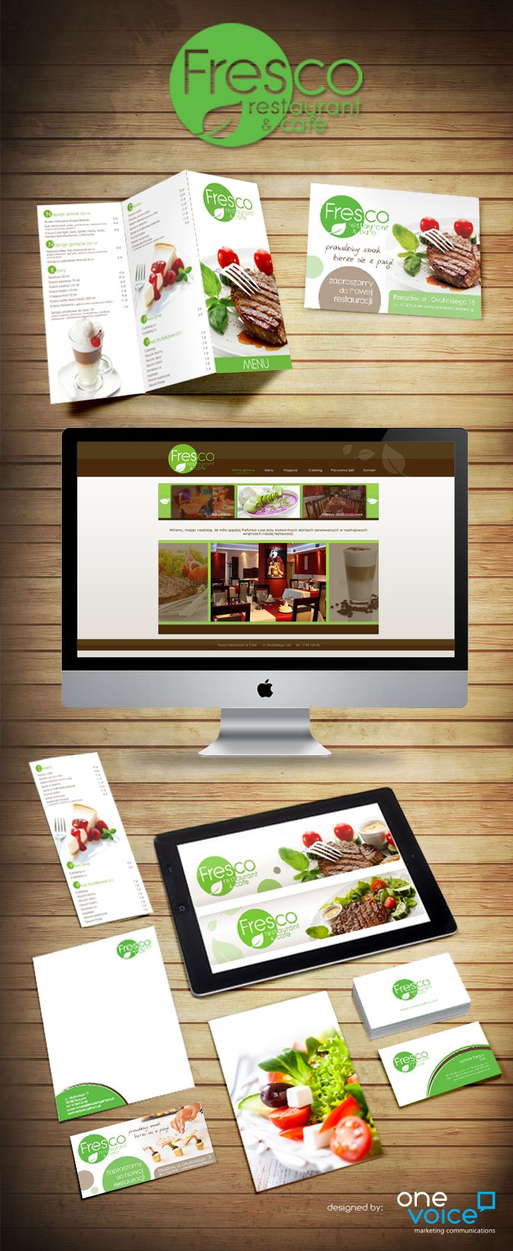 Fresco Restaurant & Cafe.  Naming, logo, web design, promotional materials
