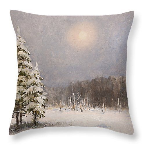 WINTER STILLNESS by VALENTINA KONDRASHOVA.   Belongs to the Galery RUSSIAN ARTISTS NEW WAVE.  Peaceful winter scene in Russian countryside with delicate pastel color palette. Bringing the feel of serenity and tranquility.. #RussianArtistsNewWave #ValentinaKondrashova #Painting #PaintingForSale #Art #ArtForSale #OriginalPainting #Winter #Xmas #Christmas #ArtForHome #Pillow #Cushion