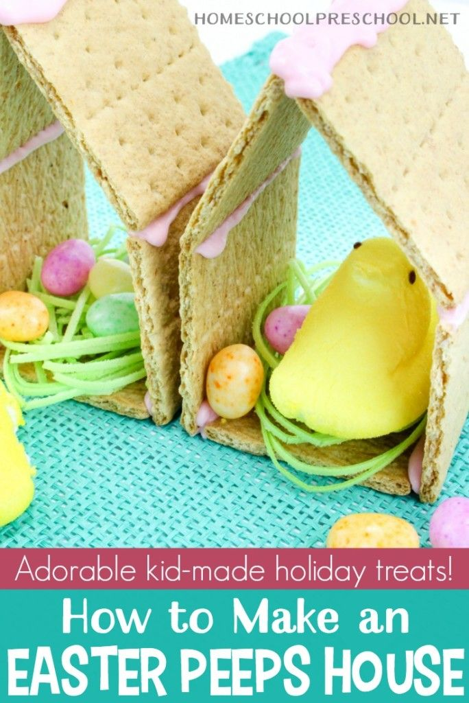 This adorable Easter Peeps Graham Cracker House is so easy to make! Kids will love helping you assemble (and eat) this sweet treat. #homeschoolprek #homeschooling #preschool #prek #easterpeeps #eastersnacks #easter #peeps #peepchicks   https://homeschoolpreschool.net/easter-peeps-graham-cracker-snacks/