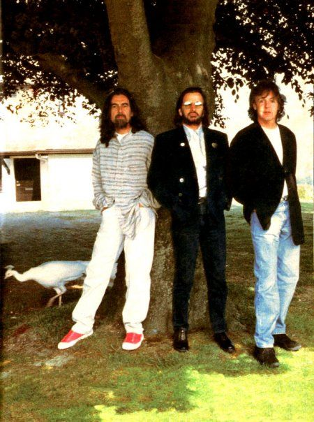 This rare white peacock wandered into the pic at the last minute. They believed it was the spirit of John Lennon.