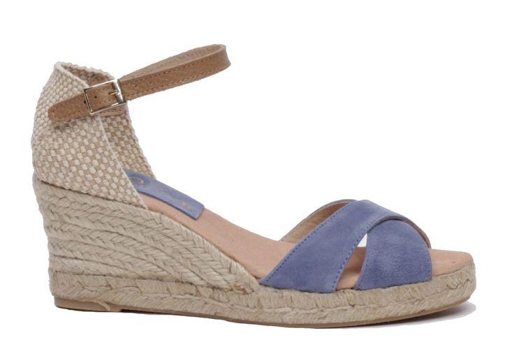 miMaO Esparto M Denim - Sandalias mujer tacón cuña cómodo color azul piel ante - Comfort women's sandals heel wedge espadrilles denim jeans blue suede leather