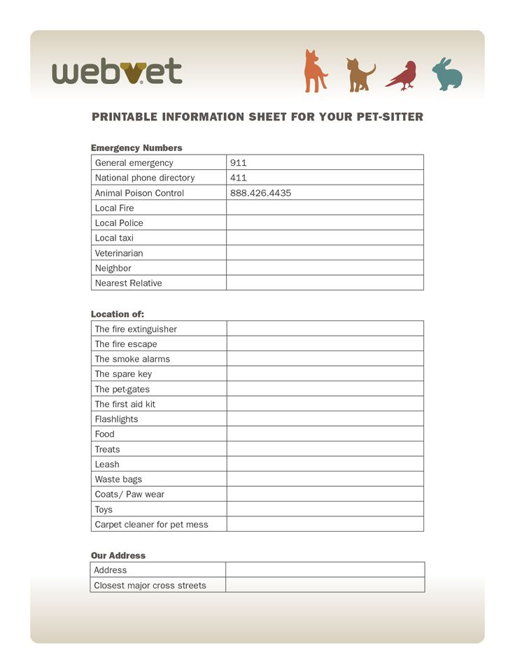 printable information sheet for your pet sitter emergency