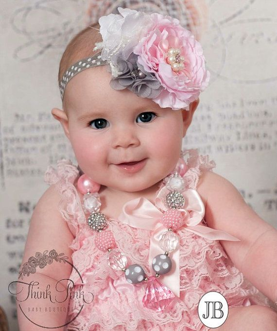 Chunky Necklace and Baby Headband SET,Baby Headbands,  Girls bubble gum necklace, Pink Grey Chunky Necklace, Pink and Grey baby headband.