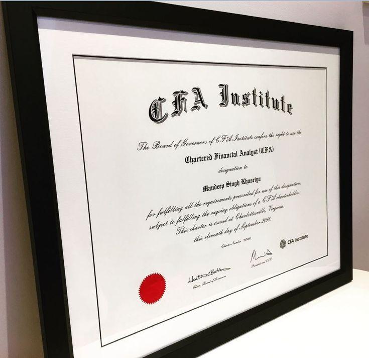 cfa frame certificate