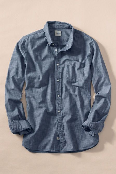 Men S Chambray Shirt From Lands End Fashionable