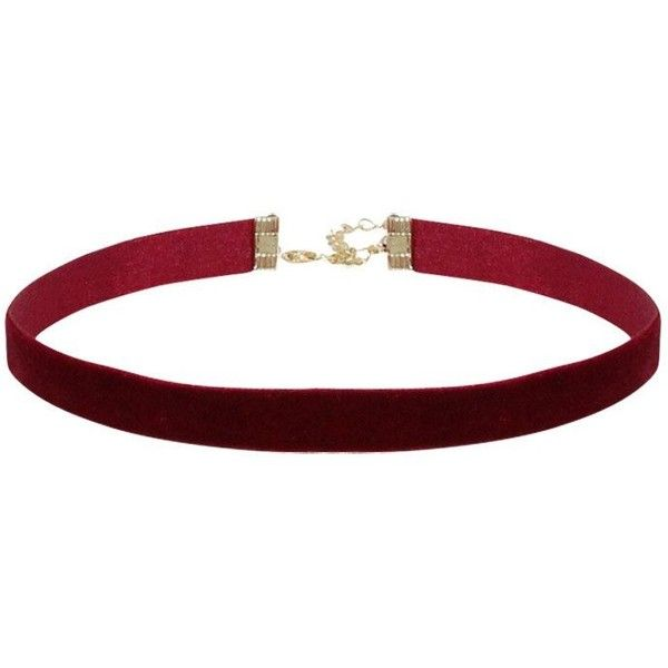 Noa Velvet Choker ($10) ❤ liked on Polyvore featuring jewelry, necklaces, thin necklace, choker jewellery, red velvet jewelry, velvet choker and red necklace