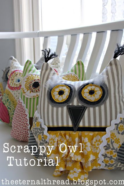 This might be this weeks project! john's mom just gave me some pillow shams she doesn't use, and knew I could come up with something for them! :-) ~Claire Scrappy Owl Pillow ~~ with Tutorial