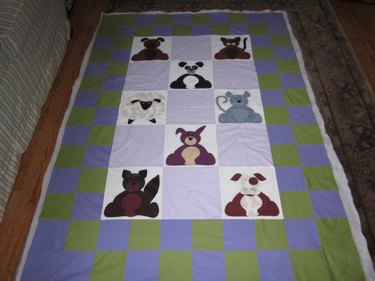 Hand-Appliqued Animal Quilt top..Made by me