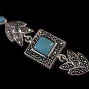 Bracelet, Great Gatsby inspired, Marcasite and turquoise stone.