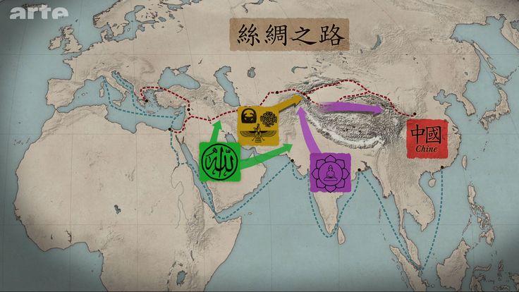La route de la soie va également permettre la diffusion de religions telles que le bouddhisme, du sous-continent indien vers l'Asie centrale puis vers la Chine, le zoroastrisme, le manichéisme, le nestorianisme – des religions originaires du monde perse – vers la Chine et enfin l'islam, à partir du VIIe siècle.