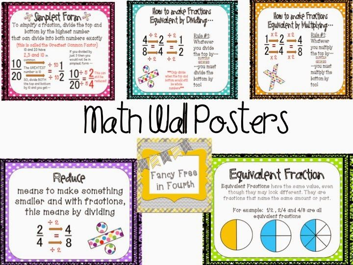 Equivalent Fractions: Your class will EAT this Fraction set! Great activities for your Math Centers and to add to your Math Bulletin Board! #fancyfreein4th