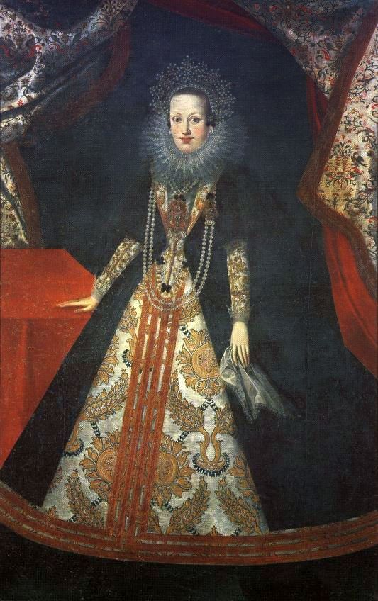 1620s Constance of Habsburg*1588+1631-second wife of Sigismund III.Vasa (sister of Ann *1573+1598 his first wife and Emperor Ferdinand II.-daughters of Archduke Charles II of Austria (1540–1590) and his wife Maria Anna of Bavaria (1551-1608)Constance had 7×children )by ? (Alte Pinakothek - München Germany)   Grand Ladies 1480-1620   gogm
