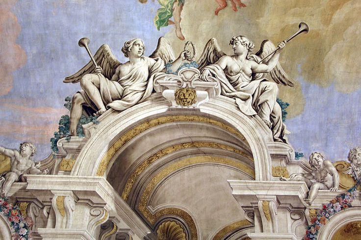 Toscana Firenze Villa di Poggio Imperiale - Francesco Corallo, sala delle udienze di Vittoria della Rovere (oggi refettorio) 1681-82, pareti #TuscanyAgriturismoGiratola