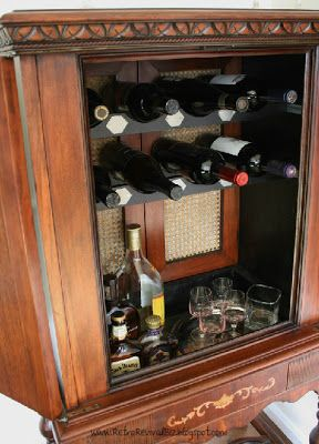 vintage radio cabinet repurposed into a liquor cabinet details on todays blog post at www