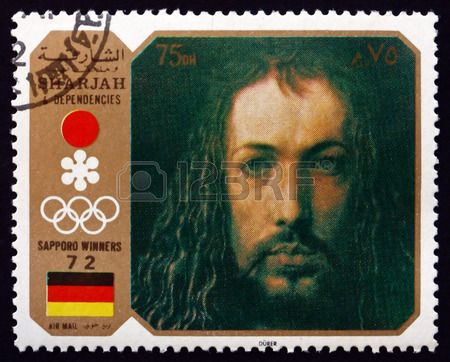 Self-portrait, Painting by Albrecht Durer, German Painter, Printmaker and Mathematician,stamp printed in the Sharjah UAE,  circa 1972