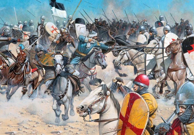 """The Battle of Montgisard, 1177"" by Zvonimir Grbasic. King Baldwin IV of Jerusalem (just 16 at the time and racked with Leprosy) led a smaller force of knights, including contingents of Templars and Hospitalers, against Saladin's much larger army and routed them utterly. Saladin was forced to retreat back to Egypt, which delayed his plans to conquer Jerusalem."