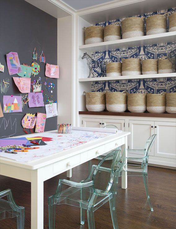 Interesting Playroom Office Ideas sweet google home office perks with google office playroom home interior design google office interior google Safari Themed Boys Playroom Features A Charcoal Gray Ceiling Over Walls Clad In Orange Safari Themed Wallpaper Lined With A Wood Daybed Adorned With