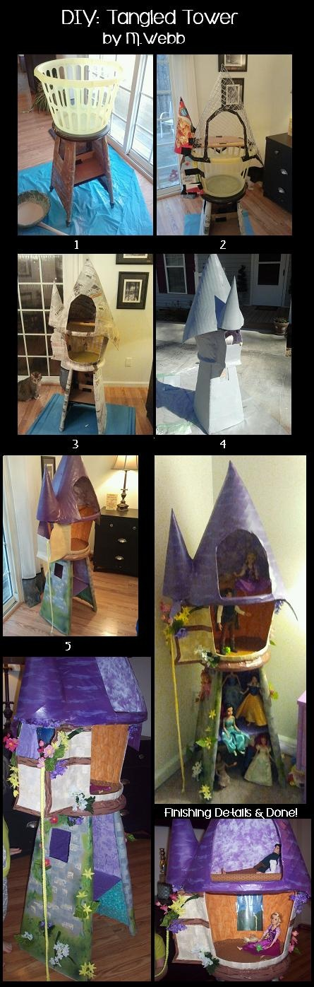 Rapunzel Tangled Tower - DIY. Forged from a broken stool, a laundry basket, cardboard boxes, wire cage, paper mache, paint and a mommy's imagination.
