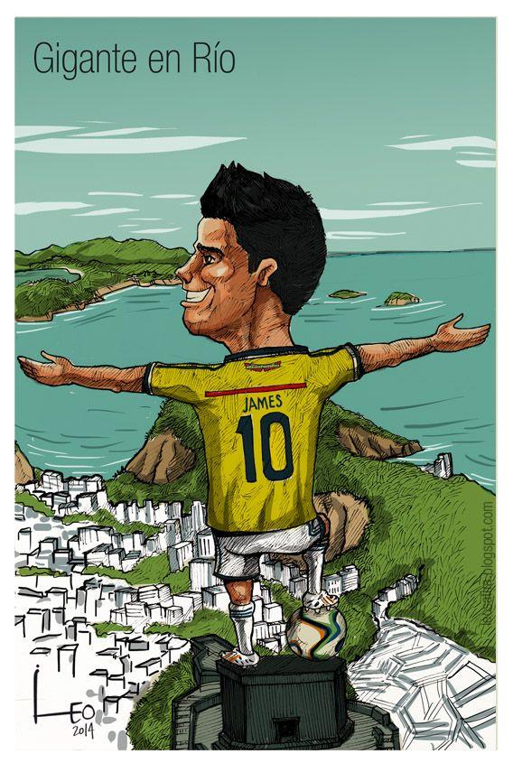 James Rodriguez Caricatua  gigante en el mundial Brasil 2014  Caricaturas -