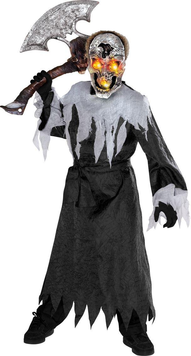 Liekki Skeleton. Kaapu sideharsomaisella kauluksella ja hihansuilla. Upea vilkkuva maski.