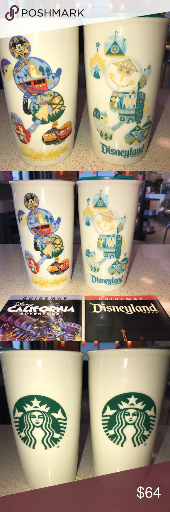 "STARBUCKS DISNEYLAND (2) TUMBLER MUG PACKAGE DEAL NOW AVAILABLE AT A ""SPECIAL DISCOUNTED PRICE""  GET (2) OF THE ""DISNEYLAND RESORT PARKS"" MOST POPULAR AND ""HIGHEST SELLING"" COLLECTOR'S MUGS IN ONE FANTASTIC PACKAGE DEAL ......   YOU GET (1) STARBUCKS DISNEYLAND (2017) ""IT'S A SMALL WORLD"" DOUBLE-WALLED CERAMIC TUMBLER MUG ....   PLUS (1) STARBUCKS DISNEY CALIFORNIA ADVENTURE (2017) ""HIDDEN MICKEY"" DOUBLE-WALLED CERAMIC TUMBLER MUG ....   BOTH ARE VERY HEAVY DUTY AND WELL MADE EXCELLENT…"