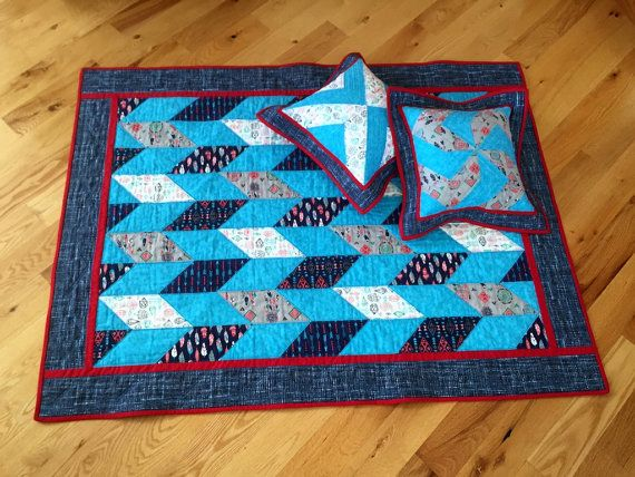 Blue Crib Quilt Small Southwestern Quilt Bright by DarBieStitches