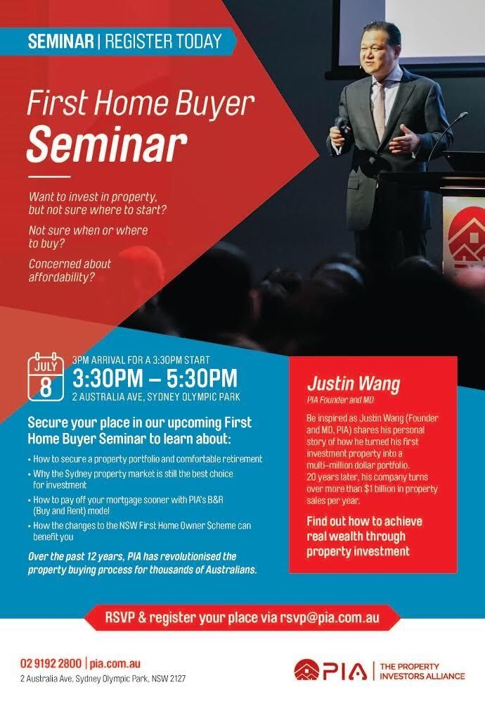 Hello all that are interested and going to the seminar I would like to invite you to register online. It will ask you of your full name, email address and phone number. Our registration facilities is safe and secure. Please ensure to add (Invest In Sydney/ Rhoda ) in your registrations forms. Please find the link below: www.eventbrite.com.au/e/invest-with-confidence-free-fho-seminar-tickets-35746342272?aff=eac2 http:/www.pia.com.au/en/property-seminars/?id=13