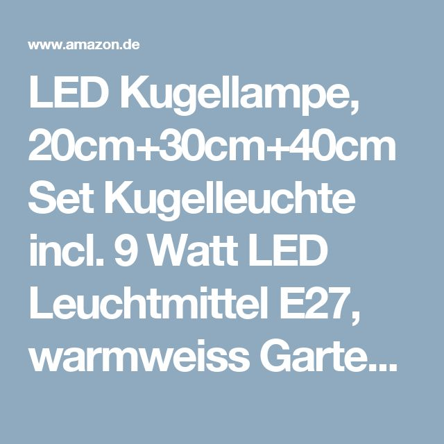 Best LED Kugellampe cm cm cm Set Kugelleuchte incl Watt LED Leuchtmittel