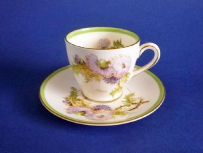 Royal Doulton 'Glamis Thistle' Coffee Cup and Saucer by Percy Curnock c1951