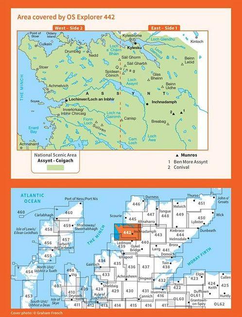 Assynt & Lochinver - Kylesku & Inchnadamph OS Explorer Map 442 (paper)