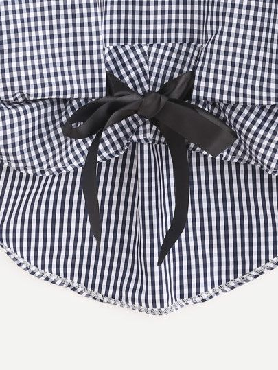 Shop Checkered Bow Tie High Low Blouse online. SheIn offers Checkered Bow Tie High Low Blouse & more to fit your fashionable needs.