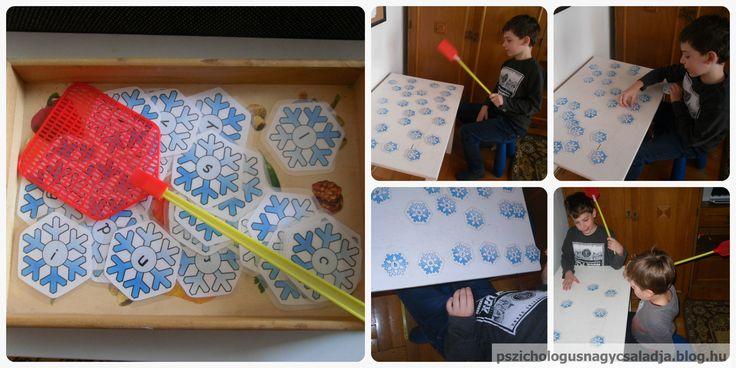 Csapd le a hópelyhet! Ötlet forrása és nyomtatható anyag (Idea and printable): http://preschoolpowolpackets.blogspot.hu/2017/01/snowflake-swat-letter-learning-free.html pszichologusnagycsaladja.blog.hu