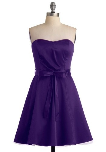 Pretty, simple, strapless. In purple and green from ModCloth. $49.99