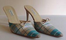DUNE Turquoise Cream & Beige Fabric Checked Summer Wedding Shoe Mule UK 5 EU 38
