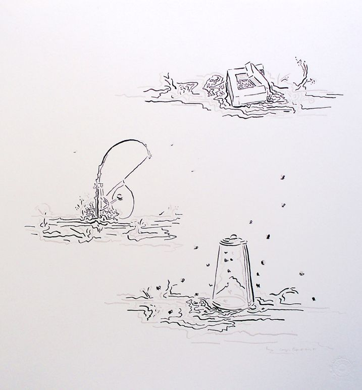 Giorgos Papadatos,  Notes on trapping, 2011, ink on paper, dim 30x26 cm