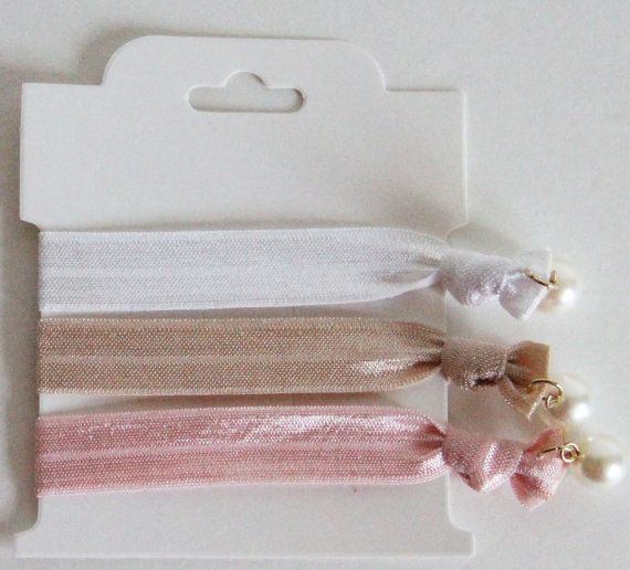 ponytail holders  Pearl hair ties  trendy color  by JerinaDesign